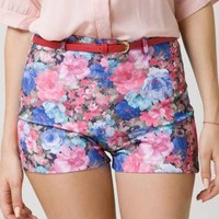 Multi Shorts - High Waist Floral Print Shorts | UsTrendy