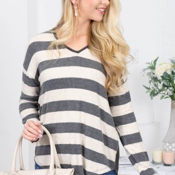 Charcoal Beige Loose Striped Top