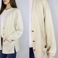 vintage cream sweater button up pullover off white jumper small sm cozy minimalist clothing