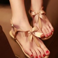Cute Bowknot Flat Heel Thong Sandals
