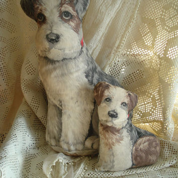 Gorgeous Vintage Cloth Dog Fabric Puppies Foxie / cottage shabby chic french hollywood romance  / epsteam