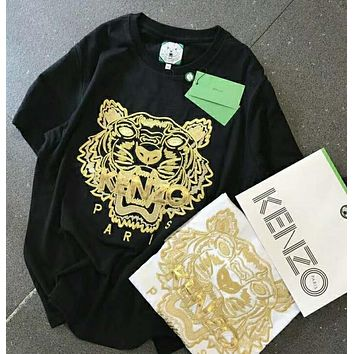 KENZO gold thread embroidered golden tiger T-shirt N-AG-CLWM