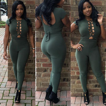 Green Strappy Cut-Out Short Sleeve Jumpsuit