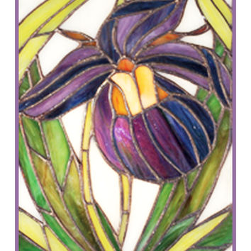 Lady Slipper Flower detail inspired by Louis Comfort Tiffany  Counted Cross Stitch or Counted Needlepoint Pattern
