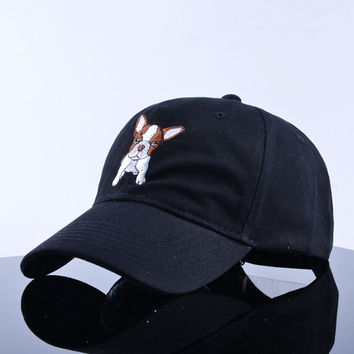 French Bulldog Embroidered Curved Brim Baseball Cap Black Dad Hat