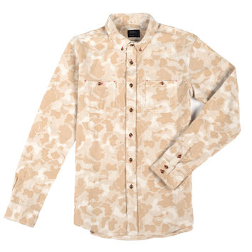 Bubble Camo Button Down Shirt Tan