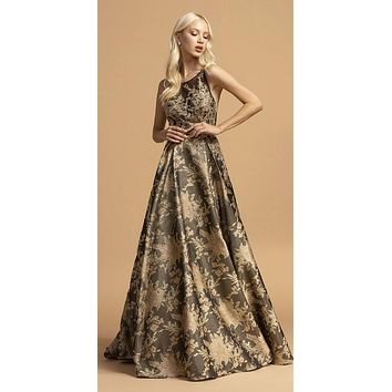 Printed Long Prom Dress Black/Gold with Pockets