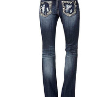 Miss Me Distressed Pocket With Rhinestone Boot Cut Jeans