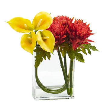 Artificial Flowers -12 Inch Calla Lily And Artichoke In Glass Vase No5