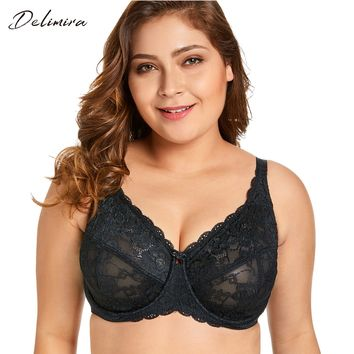 Delimira Women's Sheer Lace Full Figure Unlined Minimizer Bra