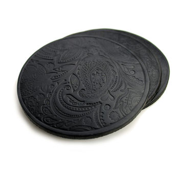 Paisley Leather Coasters - Black