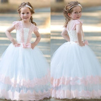 Tulle Flower Girl Dress for Wedding 2017 Lace Toddler Pageant Dress First Communion Dresses For Girl With Bow F294