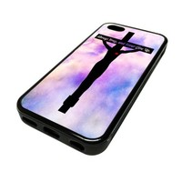 For Apple iPhone 5C 5 C Case Cover Skin Heart Love God Cross Religious Jesus Quote Ombre Cute DESIGN BLACK RUBBER SILICONE Teen Gift Vintage Hipster Fashion Design Art Print Cell Phone Accessories