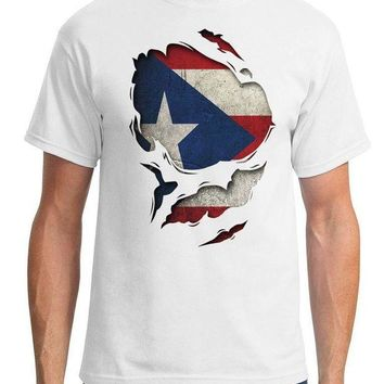DCCKV2S Puerto Rico Ripped Effect Under Shirt - Mens T-Shirt Adults Casual Tee Shirt T Shirts Man Clothing Free Shipping Top Tee