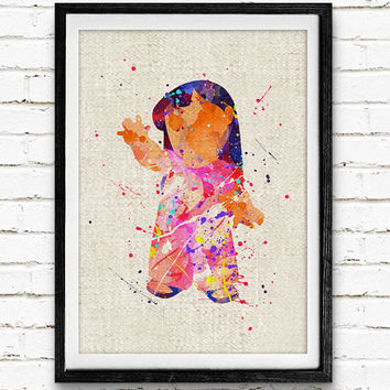 Disney Lilo Watercolor Print, Stitch Baby Girls Nursery Decor, Wall Art, Home Decor, Gift Idea, Not Framed, Buy 2 Get 1 Free!
