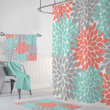 Flower SHOWER CURTAIN, Coral Aqua Gray Flower Bathroom Decor, Floral Shower Curtain, Floral Monogram Personalized Custom Bath Towel Bath Mat