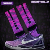 Court Purple Kobe Custom Nike Elite Socks | Rock 'Em Apparel
