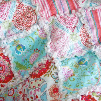 Rag Quilt, Lap Quilt,Throw Quilt, Little Azalea, Dena Designs, Cottage Chic, Shabby Style, Pink, Red, Aqua, Handmade 48 X 62, Ready To Ship,