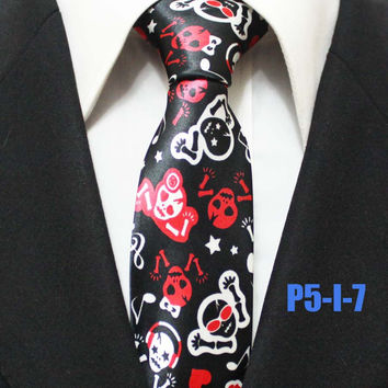 New Arrival 5cm Fashion Narrow Ties Popular Men Halloween Party Necktie with Scary Skull Pattern