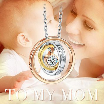 ROMAD Trendy Alloy 3 Rounds Circles Rhinestone Necklaces & Pendants for Mom Mother I Love You Mom Always be with you For Mother