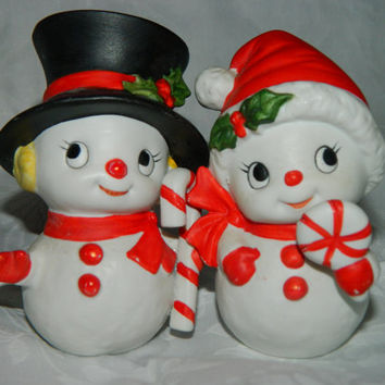 Homco Christmas 1970's Homco Frosty the Snowman & his Girl! Frosty and Mrs. Frosty Figurines, Candy Cane, Peppermint. Top Hat