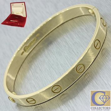 Authentic Cartier 18k Solid Yellow Gold Love Screw Bangle Bracelet 16 w/ Pouch