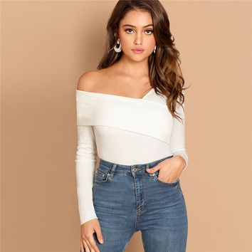 Asymmetrical Neck Solid Tee Rib-Knit Slim Fit Party Casual Pullover Long Sleeve Shirt Women Tshirt Top