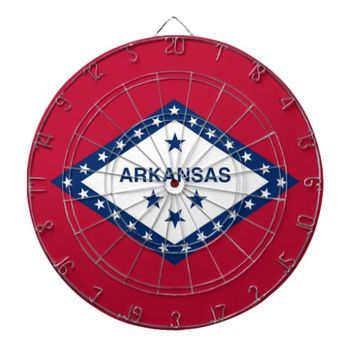 Dartboard with Flag of Arkansas, USA
