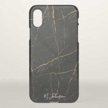Elegant Black Gold Marble Personalized iPhone X Case