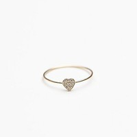 Zoe Chicco Womens Tiny Diamond Heart Ring - Gold