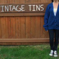 vintage heather royal blue and black oversized button down cardigan.