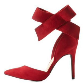 Red Ankle Bow Pointed Toe D'Orsay Pumps by Charlotte Russe