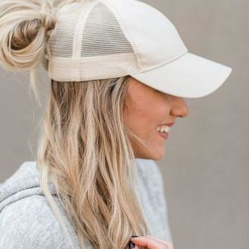 Messy Bun Baseball Hats - Beige