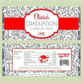 Floral Damask Graduation Candy Bar Wrapper