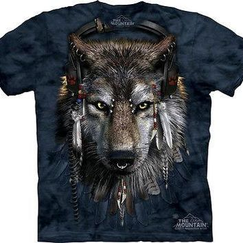 The Mountain DJ Fen Wolf Adult Native Wolve T-Shirt PRINT IN USA MT33