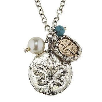 Womens Long Silver Necklace with Silver Fleur De Lis and Two Tone Cross. Imitation Pearl and Imitation Turquoise Accent. Perfect for New Orleans Saints Fans