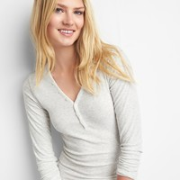 Long sleeve ribbed henley|gap