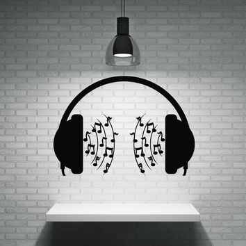 Vinyl Decal Wall Sticker Microphone on a Head Musical Stream Notes Music Decor (n554)