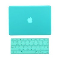 """TopCase® 2 in 1 Ultra Slim Light Weight Rubberized Hard Case Cover and Keyboard Cover for Macbook Pro 13-inch 13"""" (A1278/with or without Thunderbolt) with TopCase® Mouse Pad (Macbook Pro 13"""" A1278, Robin Egg Blue/ Hot Blue/ Turquoise)"""