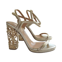 VALENTINO Metallic gold leather & metal cage heels shoes
