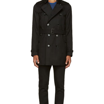 Burberry London Black Heritage Mid-length Britton Trench Coat