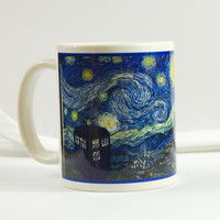 Doctor Who Mug Van Gogh tardis dr doctor who cup coffee mug Cafe Terrace at Night, Starry Night Tardis