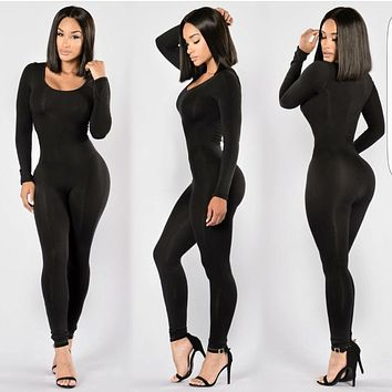 Long Sleeve O-Neck Long Pants Women Jumpsuits Fashion Bodycon Solid Colors Rompers