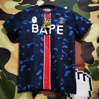 Hcxx 19June 175 BAPE X PSG Paris Saint Germain United Camouflage Loose T-shirt