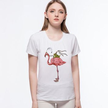 Spring and Summer Casual Pink Flamingo T-Shirt