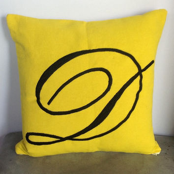 Big letter lemon yellow monogram pillow-Script Custom Monogrammed Embroidered cushion cover 18 inches pillow cover