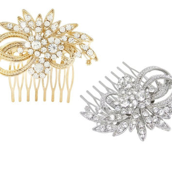 Headpiece - Small Elegant Rhinestone Bridal Hair Comb - Gold or Silver