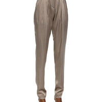 Tapered Pleated Pants, Bison, Size:
