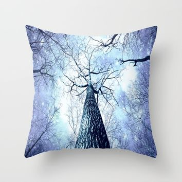 Wintry Trees Periwinkle Ice Blue Space Throw Pillow by 2sweet4words Designs