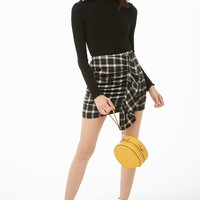 Ruched Ruffle Plaid Skirt